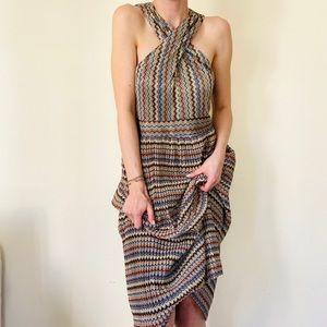 NWT Rachel Roy Chevron Lurex Halter Midi Dress